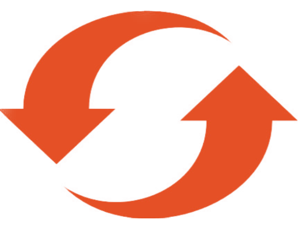 två orangea pilar som i en cikel pekar på varandras bakdel