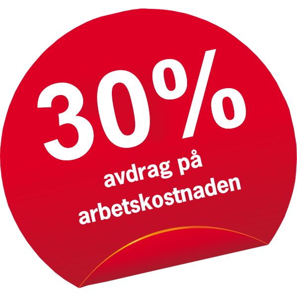 röd ifyld cirkel med texten 30% avdrag på arbetskostnaden